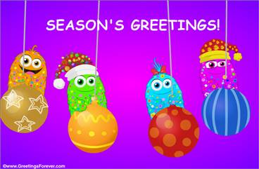 Season's Greetings with Christmas ornaments