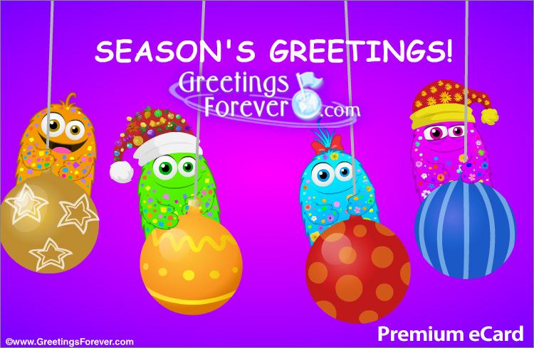 Ecard - Season's Greetings with Christmas ornaments
