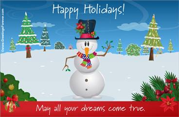 Happy holidays with snowman
