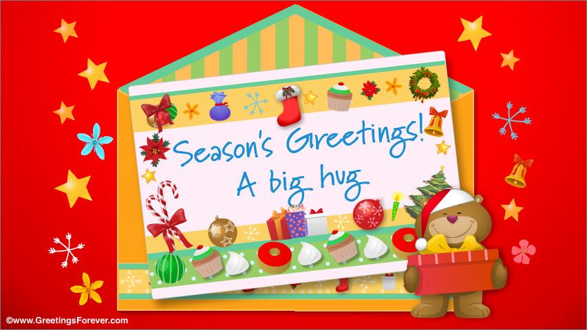 Ecard - Christmas envelope with a big hug