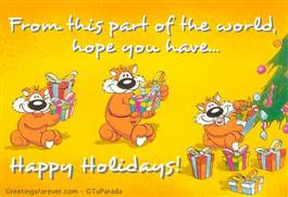 Happy Holidays in yellow