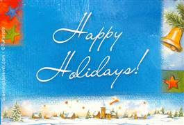 Happy holidays in blue