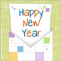 Happy year ecard with envelope