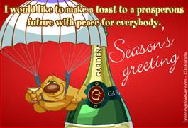 Season's Greeting with a toast