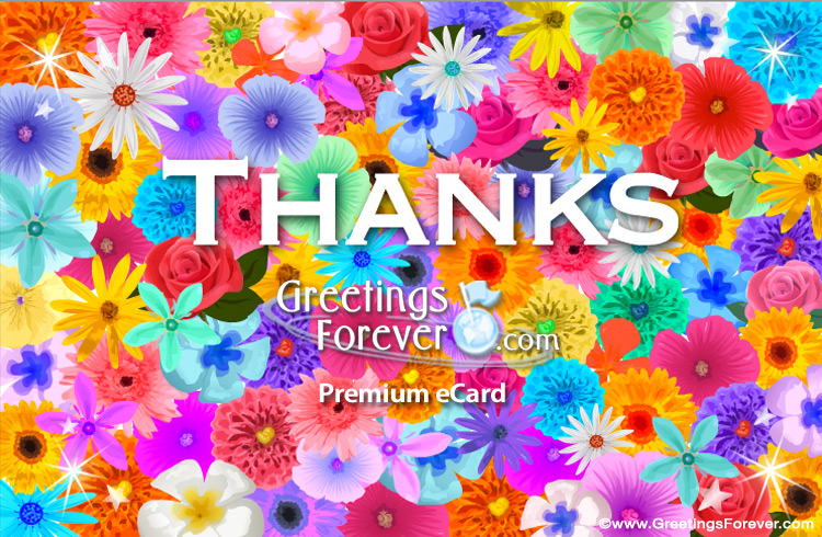 Ecard - Thanks e-card with flowers