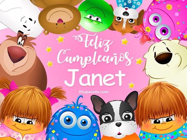 Tarjeta - Feliz cumpleaños Janet