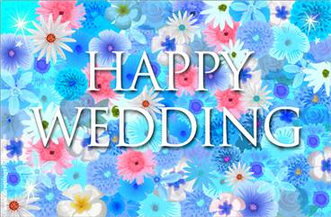 Happy Wedding with flowers
