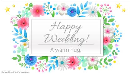 Wedding ecard with a warm hug