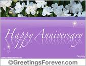 Anniversary ecard with white flowers