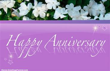 Anniversary ecard with white flowers