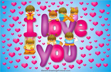 I love you ecard with characters