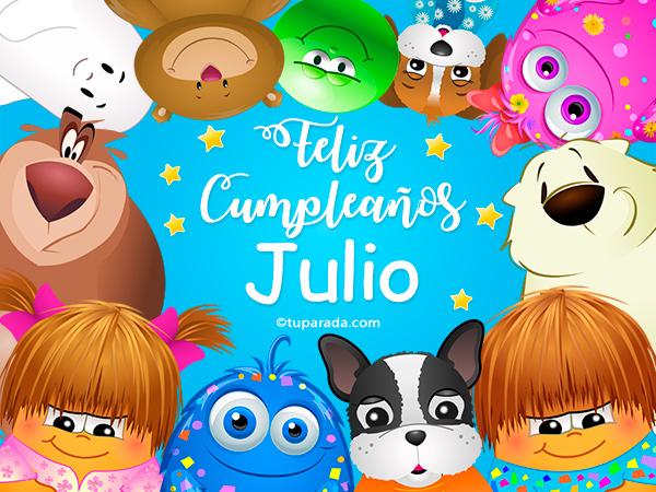 Tarjeta - Feliz cumpleaños Julio