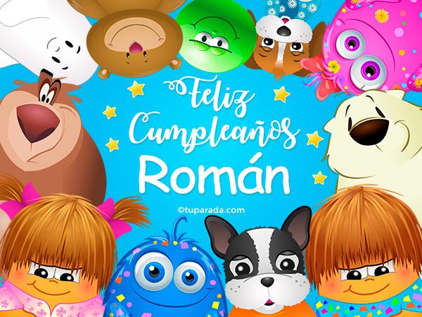 Tarjeta - Feliz cumpleaños Román