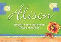Name Alison