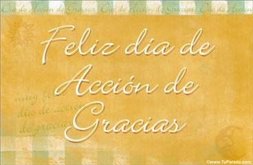 Tarjeta de Acción de Gracias pastel
