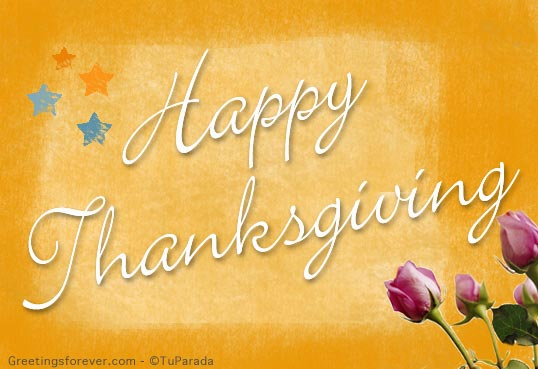 Ecard - Happy Thanksgiving with flowers