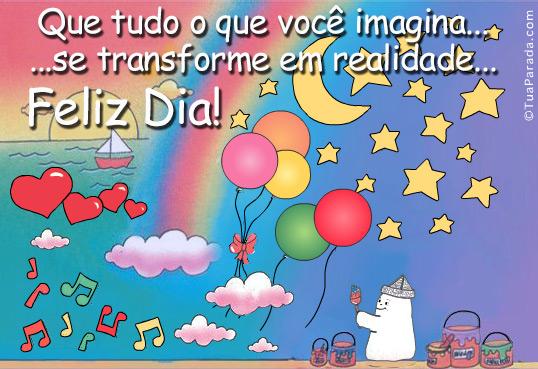 Cartão - Feliz dia e sonhos a realizar
