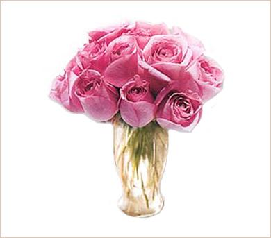 Una docena de rosas rosadas en florero