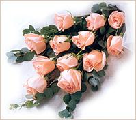 Doce rosas rosadas en ramo pastora