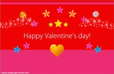 Happy Valentine's day ecard in red