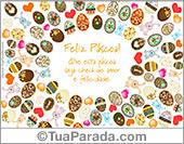 Cartão com muitos ovos de Páscoa