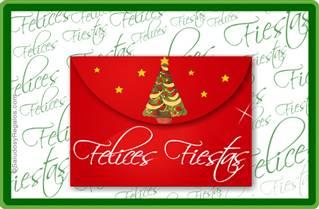 Felices Fiestas en sobre navideño.