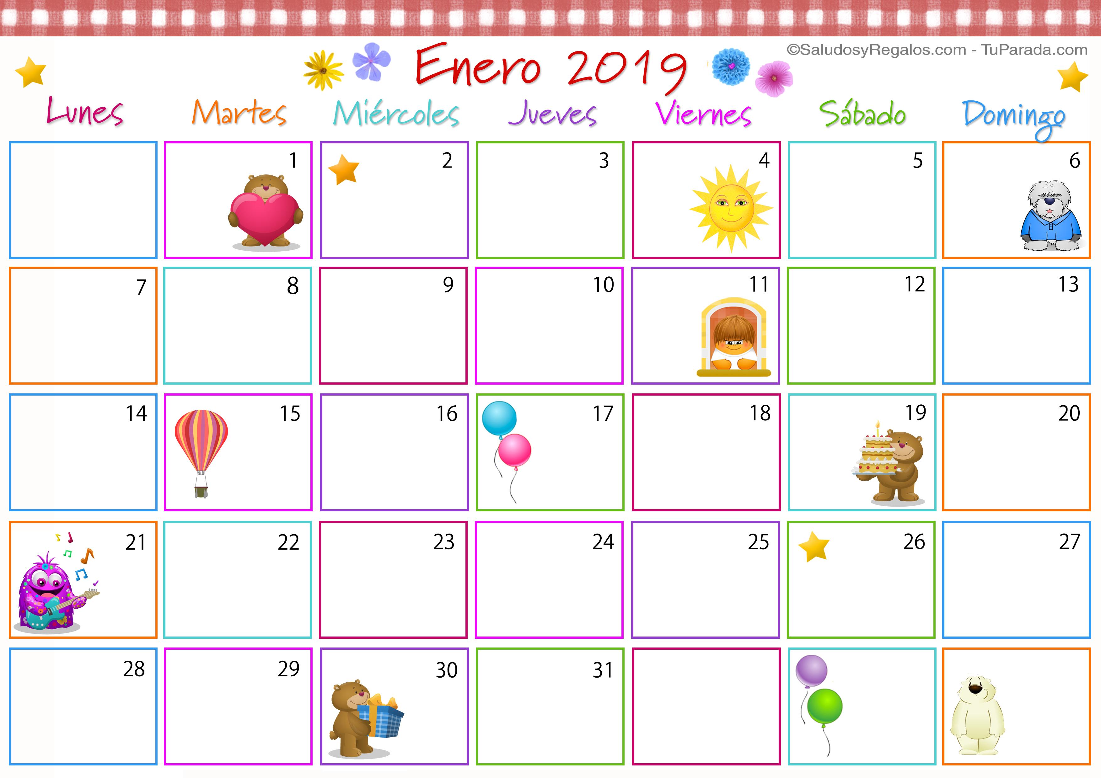 Calendario Multicolor Enero 2019 Calendario Multicolor 2019