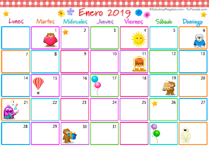 Calendario Multicolor - Enero 2019