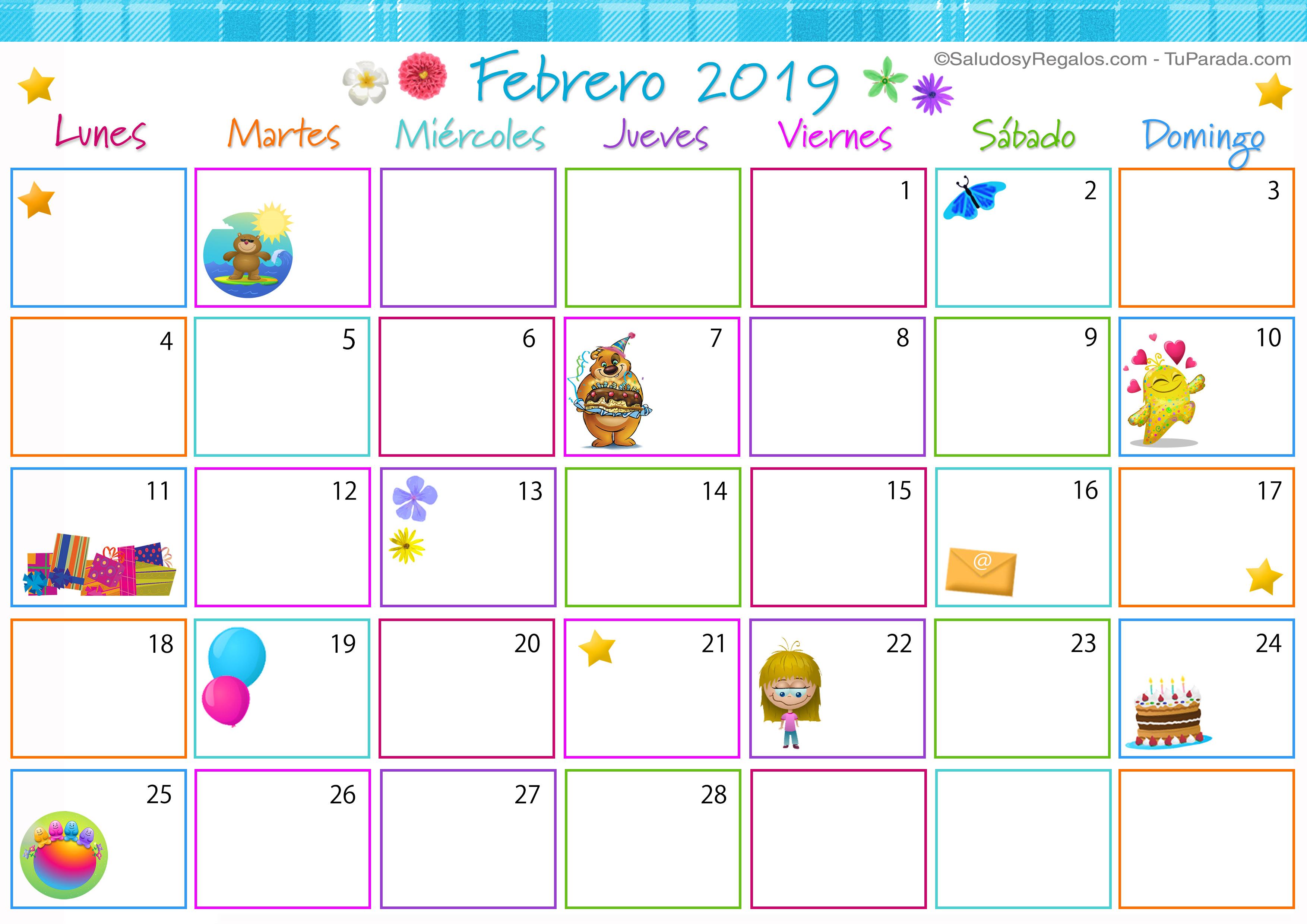 Febrero 2019 Calendario.Calendario Multicolor Febrero 2019 Calendario Multicolor 2019