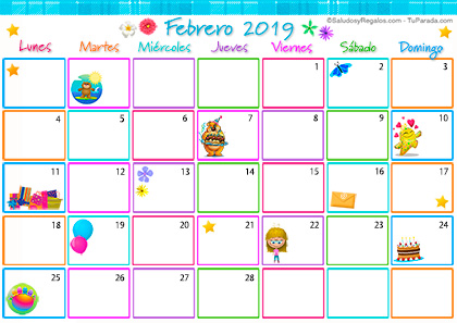 Calendario Multicolor - Febrero 2019