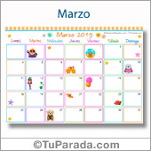 Calendario Multicolor - Marzo 2019