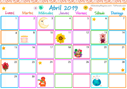 Calendario Multicolor - Abril 2019