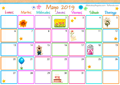 Calendario Multicolor - Mayo 2019