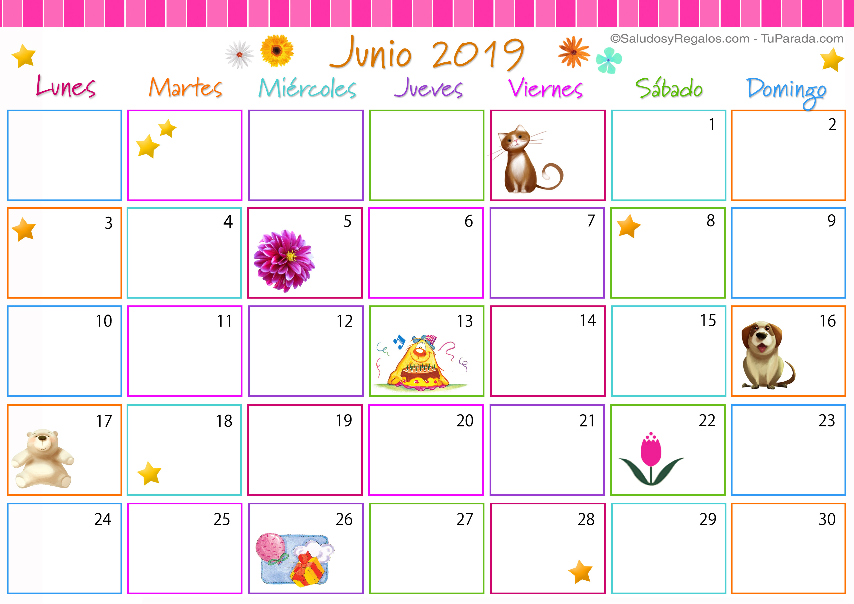 Calendario De Junio.Calendario Multicolor Junio 2019 Calendario Multicolor 2019