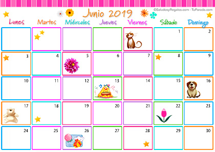 Junio 2019 Calendario.Calendario Multicolor Junio 2019 Calendario Multicolor 2019