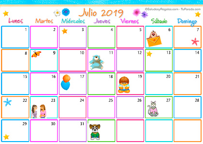 Calendario Multicolor - Julio 2019