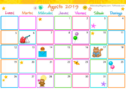 Calendario Multicolor - Agosto 2019