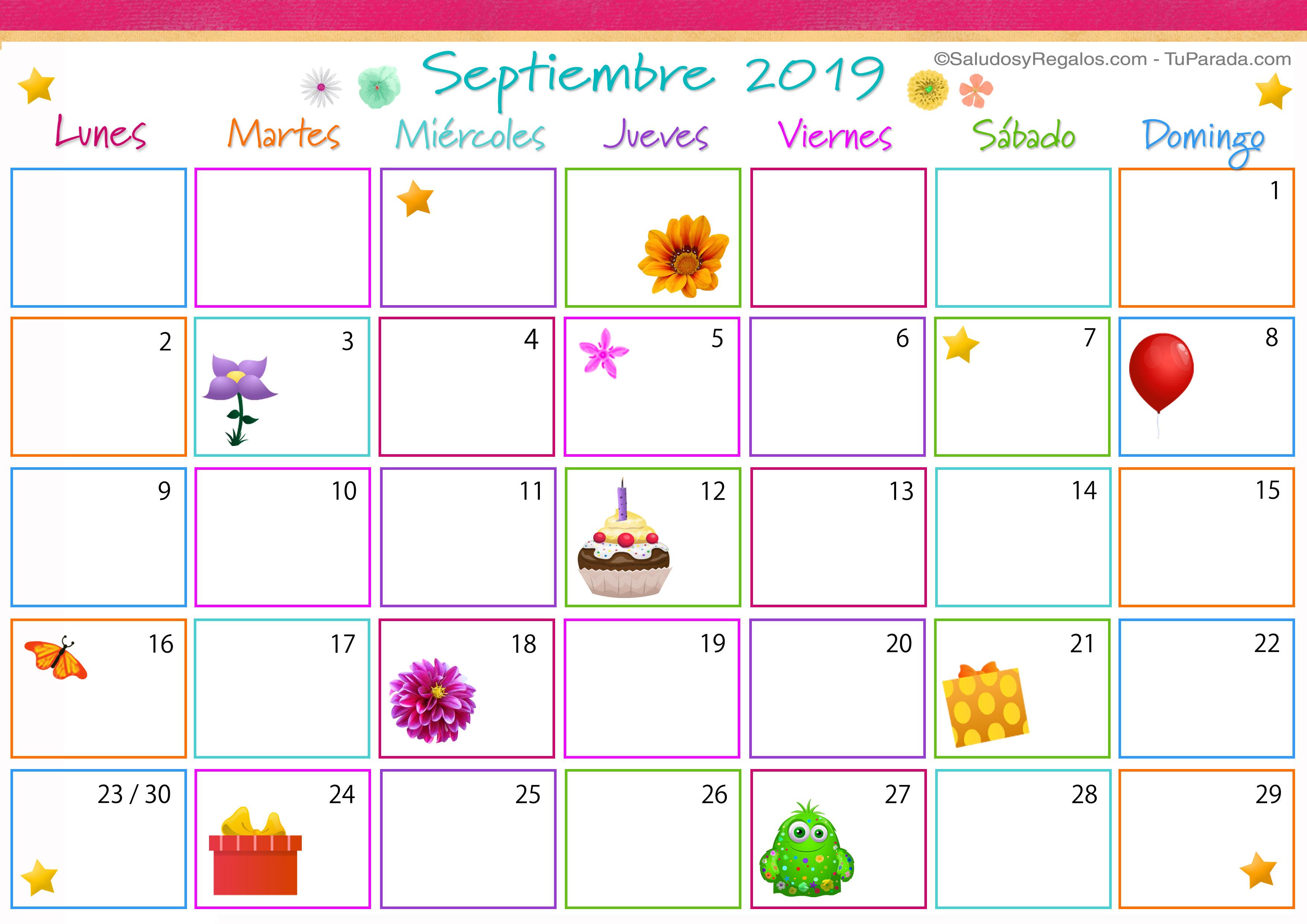 Calendario De Septiembre.Calendario Multicolor Septiembre 2019 Calendario Multicolor 2019