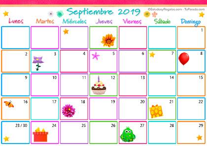 Calendario De Septiembre 2019 Para Imprimir Animado.Enviar Tarjeta Postal Calendario Multicolor Septiembre 2019