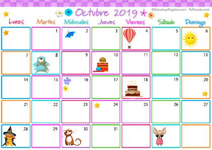 Calendario Multicolor - Octubre 2019