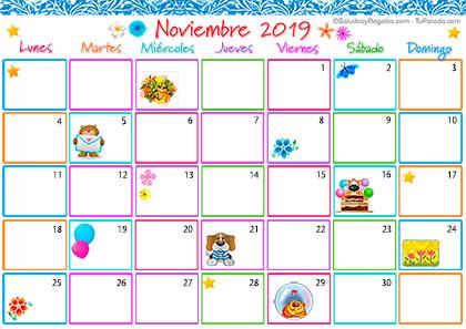 Calendario Noviembre 2019.Calendario Multicolor Noviembre 2019 Calendario Multicolor 2019