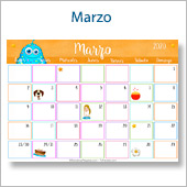 Calendario multicolor - Marzo 2020