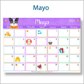 Calendario multicolor - Mayo 2020