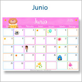 Calendario multicolor - Junio 2020