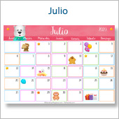 Calendario multicolor - Julio 2020