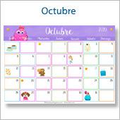 Calendario multicolor - Octubre 2020