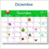 Calendario multicolor - Diciembre 2020