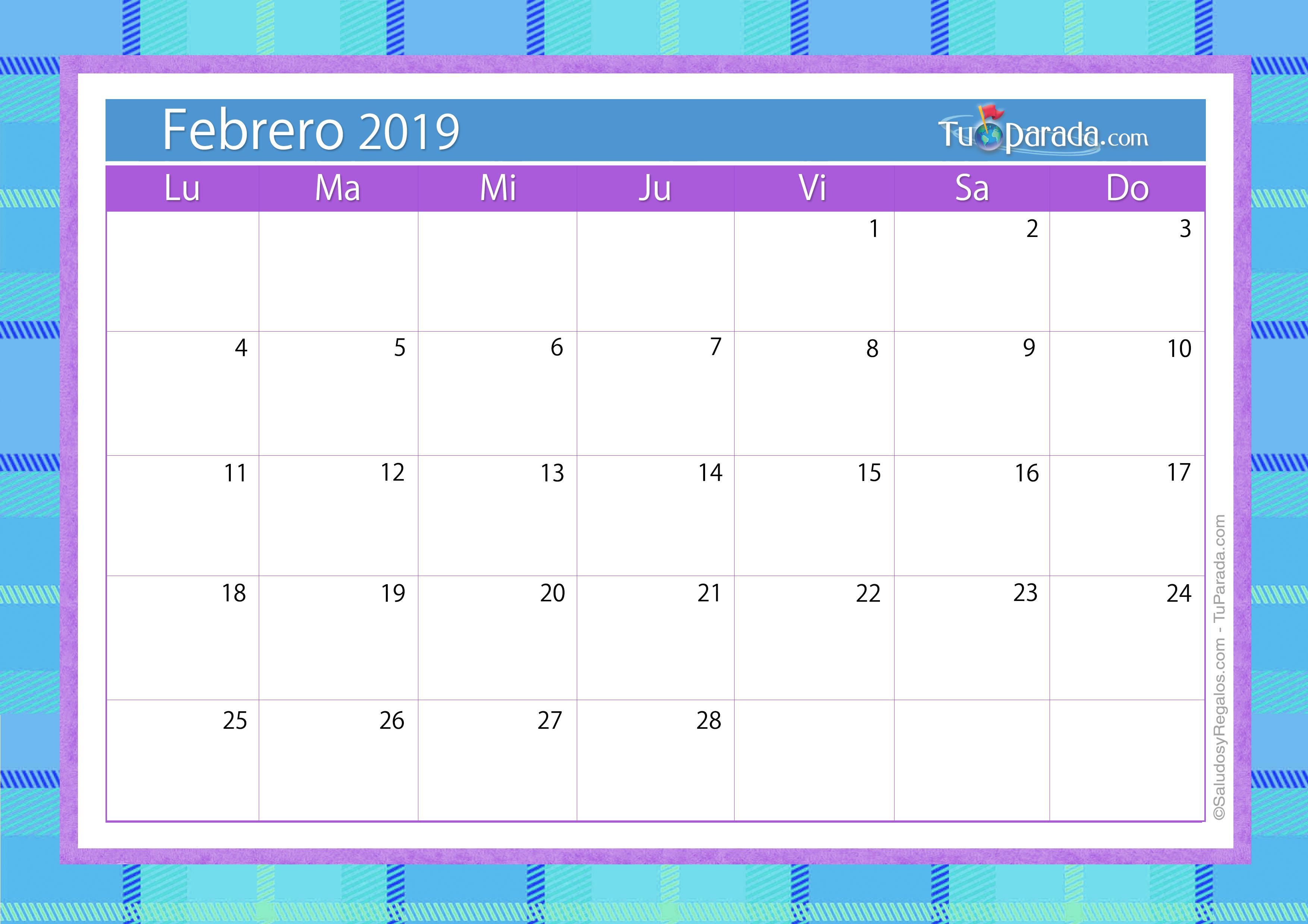 Febrero 2019 Calendario.Calendario Deco Febrero 2019 Calendario Deco 2019 Tarjetas