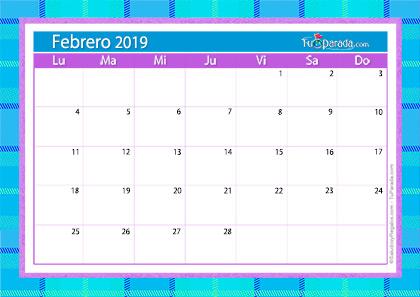 Calendario Deco - Febrero 2019