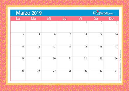Calendario Deco - Marzo 2019
